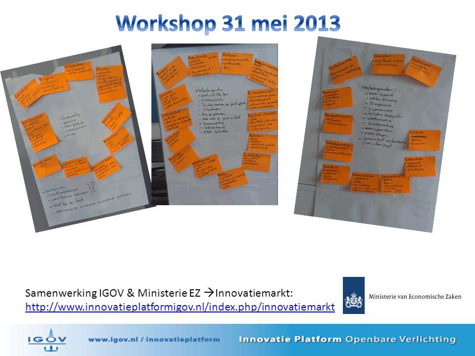 Samenwerking IGOV & Ministerie EZ  Innovatiemarkt: http://www.innovatieplatformigov.nl/index.php/innovatiemarkt
