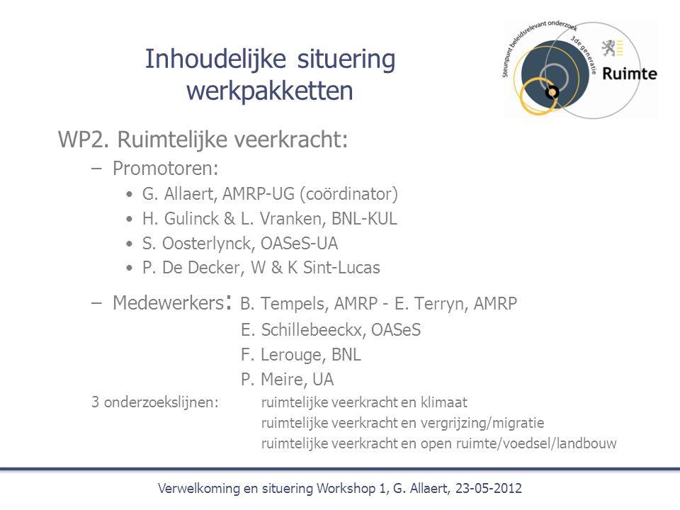 Inhoudelijke situering werkpakketten WP2. Ruimtelijke veerkracht: –Promotoren: G.