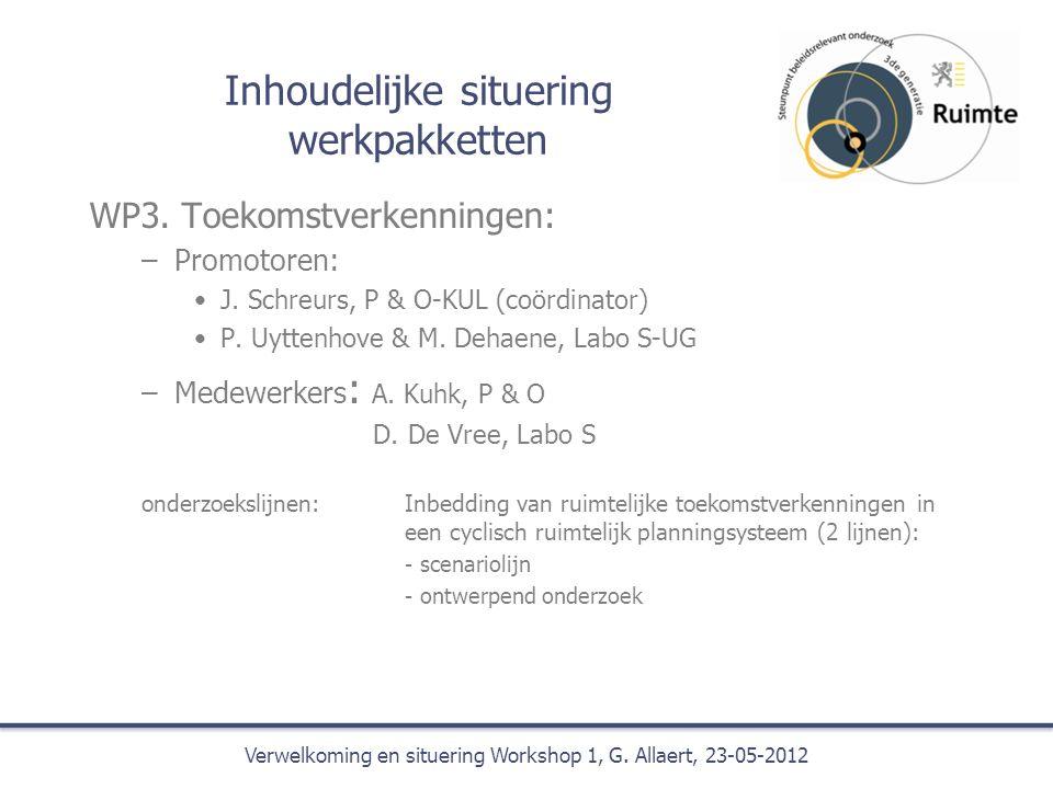 Inhoudelijke situering werkpakketten WP3. Toekomstverkenningen: –Promotoren: J.