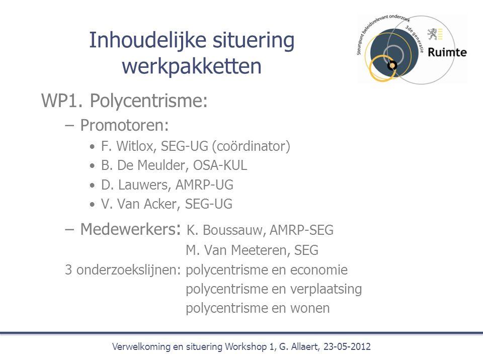 Inhoudelijke situering werkpakketten WP1. Polycentrisme: –Promotoren: F.
