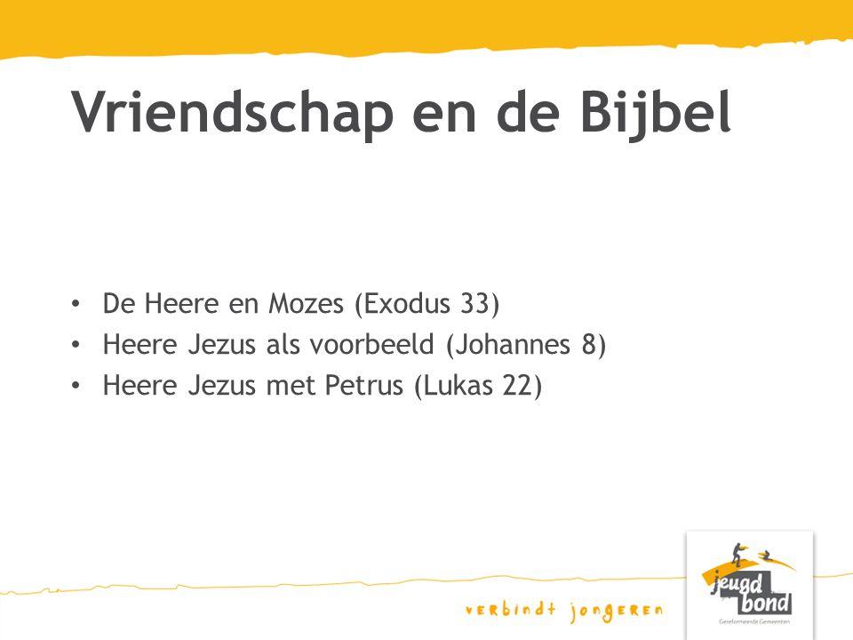 De Heere en Mozes (Exodus 33) Heere Jezus als voorbeeld (Johannes 8) Heere Jezus met Petrus (Lukas 22) Vriendschap en de Bijbel
