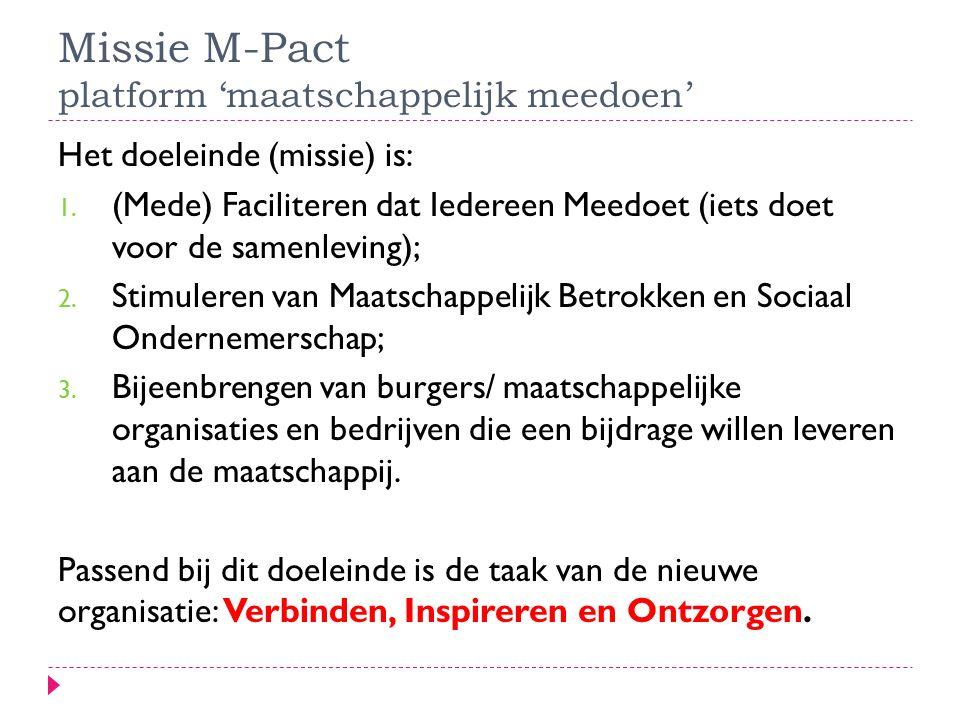 Missie M-Pact platform 'maatschappelijk meedoen' Het doeleinde (missie) is: 1.