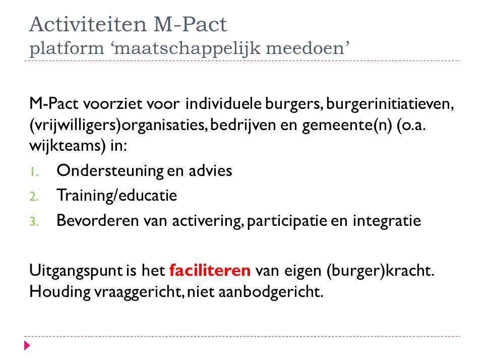 Activiteiten M-Pact platform 'maatschappelijk meedoen' M-Pact voorziet voor individuele burgers, burgerinitiatieven, (vrijwilligers)organisaties, bedrijven en gemeente(n) (o.a.