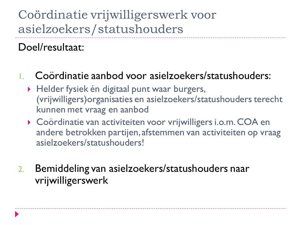 Coördinatie vrijwilligerswerk voor asielzoekers/statushouders Doel/resultaat: 1.