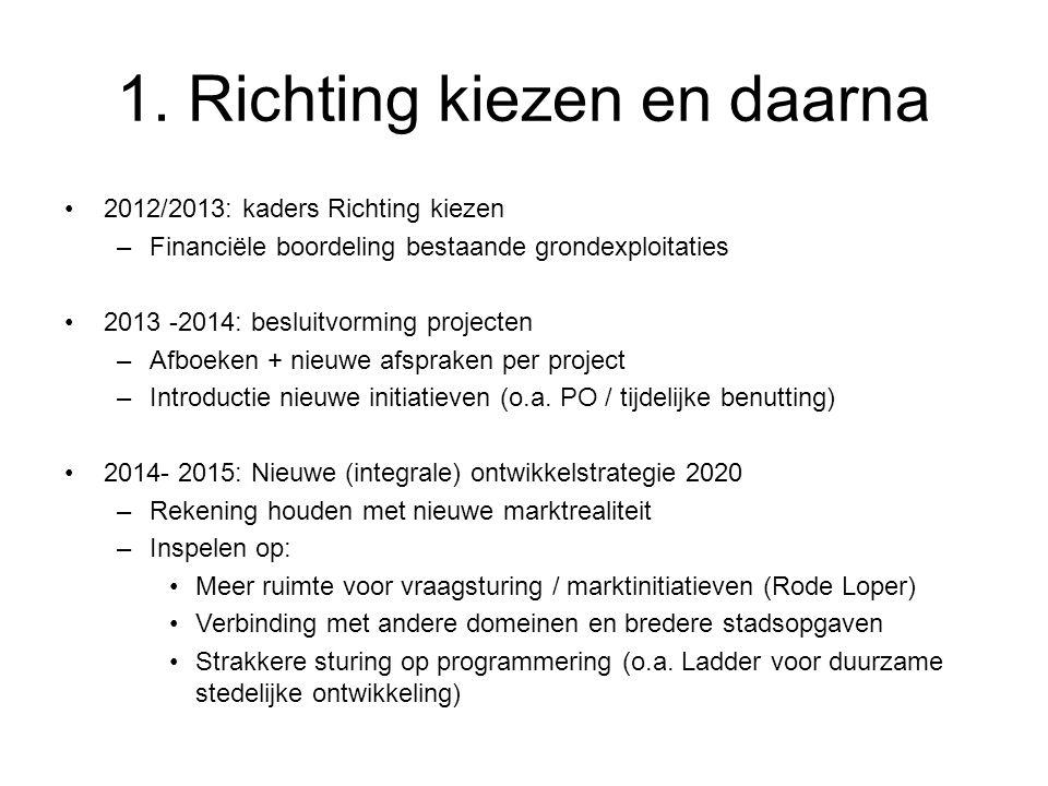 1. Richting kiezen en daarna 2012/2013: kaders Richting kiezen –Financiële boordeling bestaande grondexploitaties 2013 -2014: besluitvorming projecten