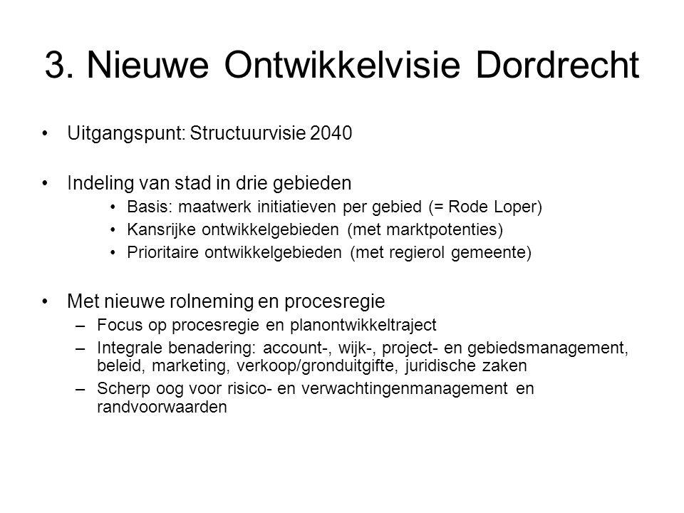 3. Nieuwe Ontwikkelvisie Dordrecht Uitgangspunt: Structuurvisie 2040 Indeling van stad in drie gebieden Basis: maatwerk initiatieven per gebied (= Rod