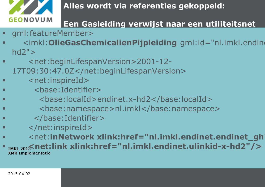 Alles wordt via referenties gekoppeld: Een Gasleiding verwijst naar een utiliteitsnet  gml:featureMember>   2001-12- 17T09:30:47.0Z   endinet.x-hd2  nl.imkl  2015-04-02 IMKL 2015 XMK Implementatie