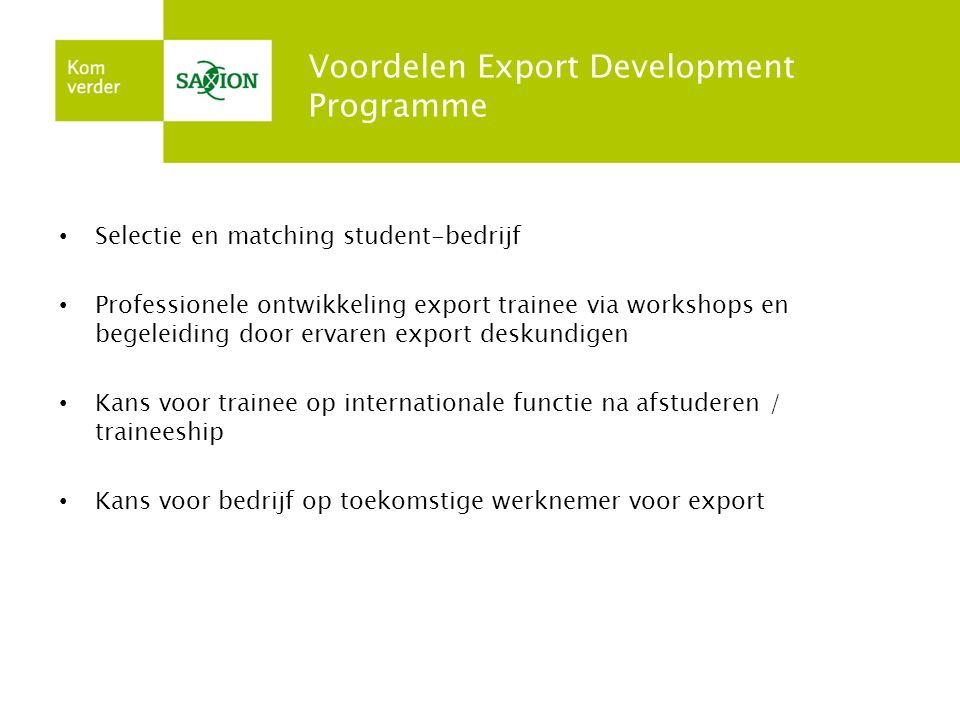 Voordelen Export Development Programme Selectie en matching student-bedrijf Professionele ontwikkeling export trainee via workshops en begeleiding doo