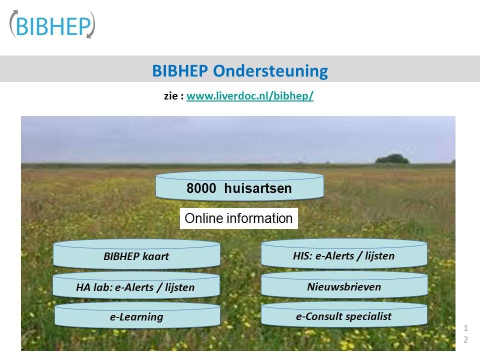 12 e-Consult specialist HIS: e-Alerts / lijsten Nieuwsbrieven HA lab: e-Alerts / lijsten BIBHEP kaart 8000 huisartsen Online information BIBHEP Ondersteuning e-Learning zie : www.liverdoc.nl/bibhep/www.liverdoc.nl/bibhep/