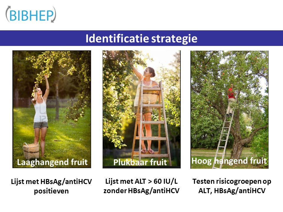 Lijst met ALT > 60 IU/L zonder HBsAg/antiHCV Testen risicogroepen op ALT, HBsAg/antiHCV Identificatie strategie Laaghangend fruit Plukbaar fruit Hoog hangend fruit Lijst met HBsAg/antiHCV positieven