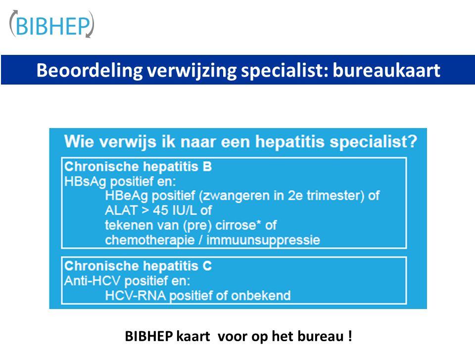 Beoordeling verwijzing specialist: bureaukaart BIBHEP kaart voor op het bureau !