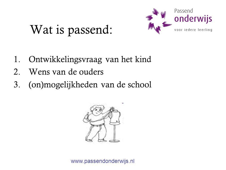 Wat is passend: 1.Ontwikkelingsvraag van het kind 2.Wens van de ouders 3.(on)mogelijkheden van de school www.passendonderwijs.nl