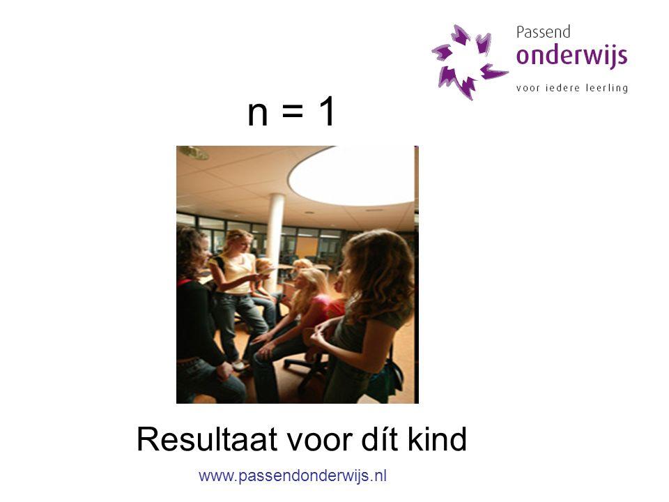 n = 1 Resultaat voor dít kind www.passendonderwijs.nl