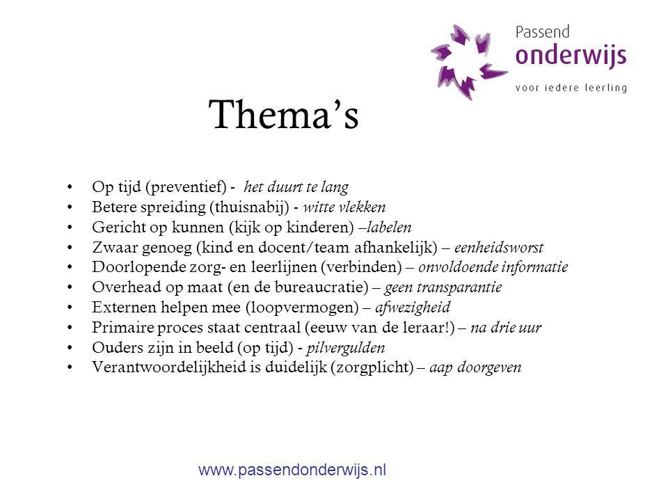 Handelingsgericht indiceren stoppen met landelijke indicatiecriteria Op maat Leerling afhankelijk Leerkracht afhankelijk Flexibel Gevarieerd www.passendonderwijs.nl