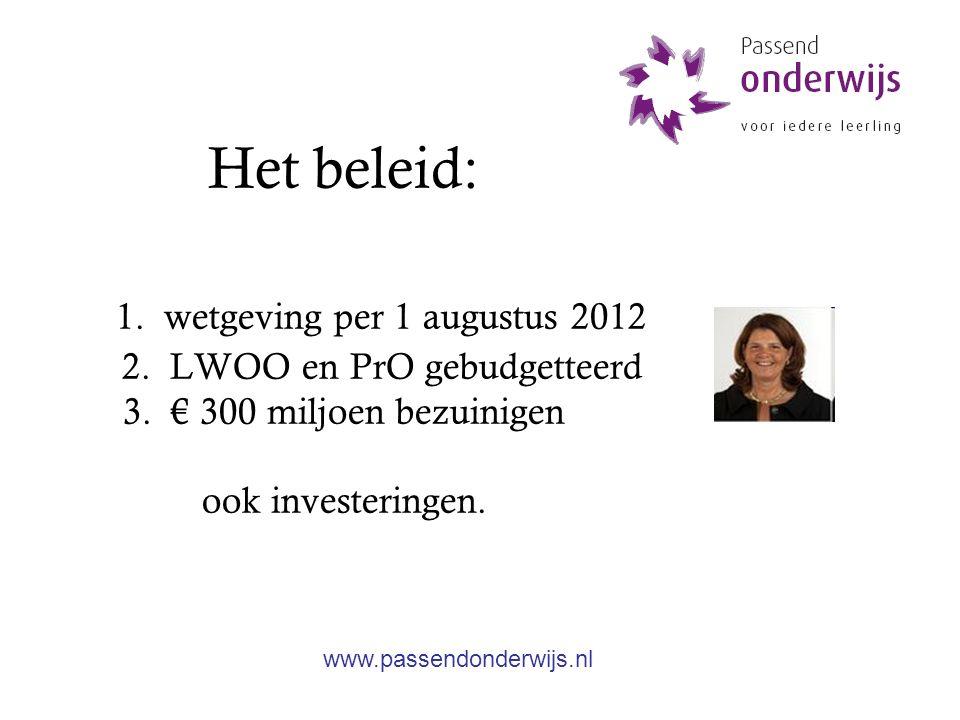 Wetgeving Per 1 augustus 2012: Zorgplicht (voor besturen) Samenwerking verplicht (regulier-speciaal) Handelingsgericht indiceren (samenwerkingsverband) Onderwijszorgprofiel (iedere school) Medezeggenschap (instemming) Landelijke geschillenregeling (bindend) Landelijk referentiekader (richting) Budgetfinanciering + verevening (Cluster 3 en 4) LGF middelen (schooldeel en AB+) naar het SWV www.passendonderwijs.nl