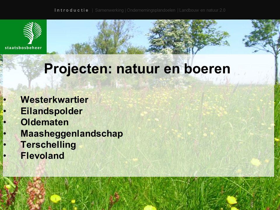 I n t r o d u c t i e | Samenwerking | Ondernemingsplandoelen | Landbouw en natuur 2.0 Projecten: natuur en boeren Westerkwartier Eilandspolder Oldema