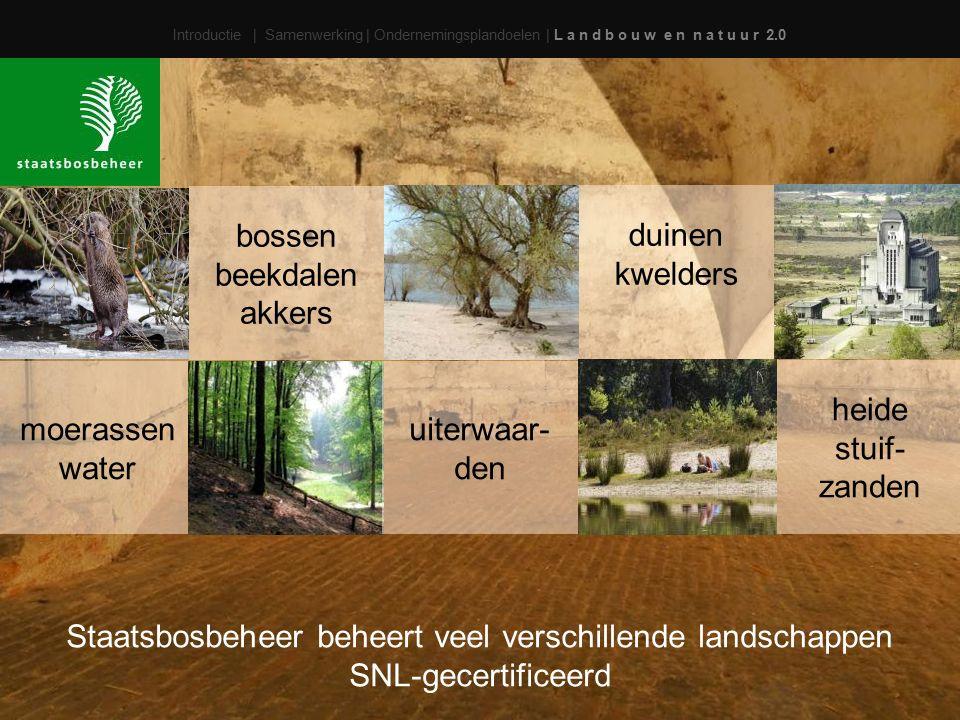 Introductie | Samenwerking | Ondernemingsplandoelen | L a n d b o u w e n n a t u u r 2.0 bossen beekdalen akkers duinen kwelders moerassen water uiterwaar- den heide stuif- zanden Staatsbosbeheer beheert veel verschillende landschappen SNL-gecertificeerd