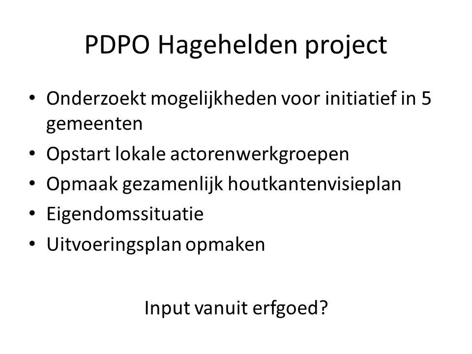 PDPO Hagehelden project Onderzoekt mogelijkheden voor initiatief in 5 gemeenten Opstart lokale actorenwerkgroepen Opmaak gezamenlijk houtkantenvisiepl
