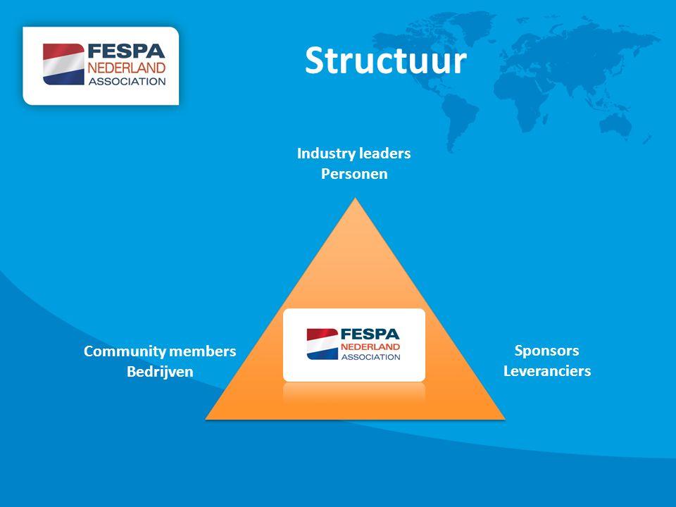 Structuur Industry leaders Personen Community members Bedrijven Sponsors Leveranciers