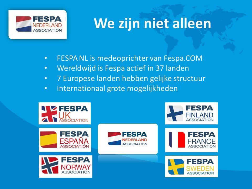 We zijn niet alleen FESPA NL is medeoprichter van Fespa.COM Wereldwijd is Fespa actief in 37 landen 7 Europese landen hebben gelijke structuur Internationaal grote mogelijkheden