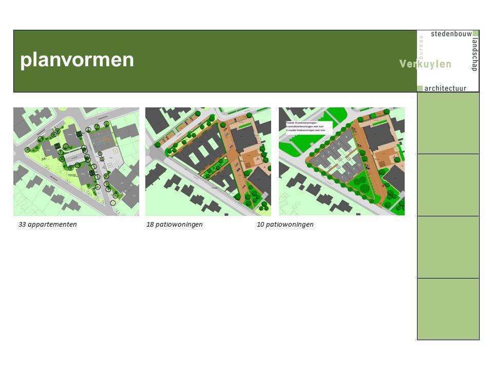 planvormen 33 appartementen 18 patiowoningen 10 patiowoningen