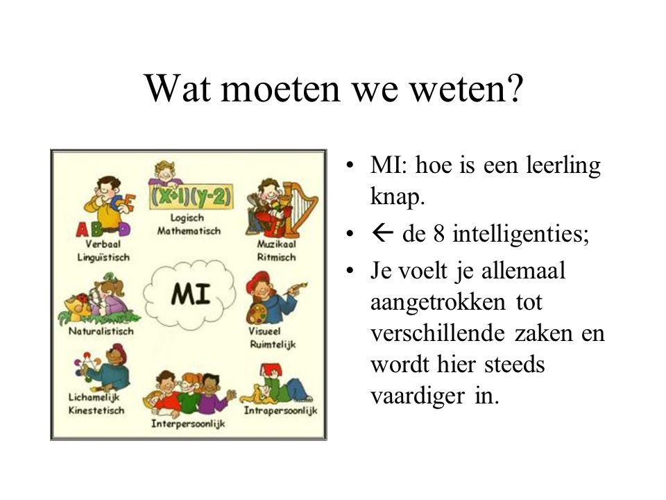 Wat moeten we weten? MI: hoe is een leerling knap.  de 8 intelligenties; Je voelt je allemaal aangetrokken tot verschillende zaken en wordt hier stee