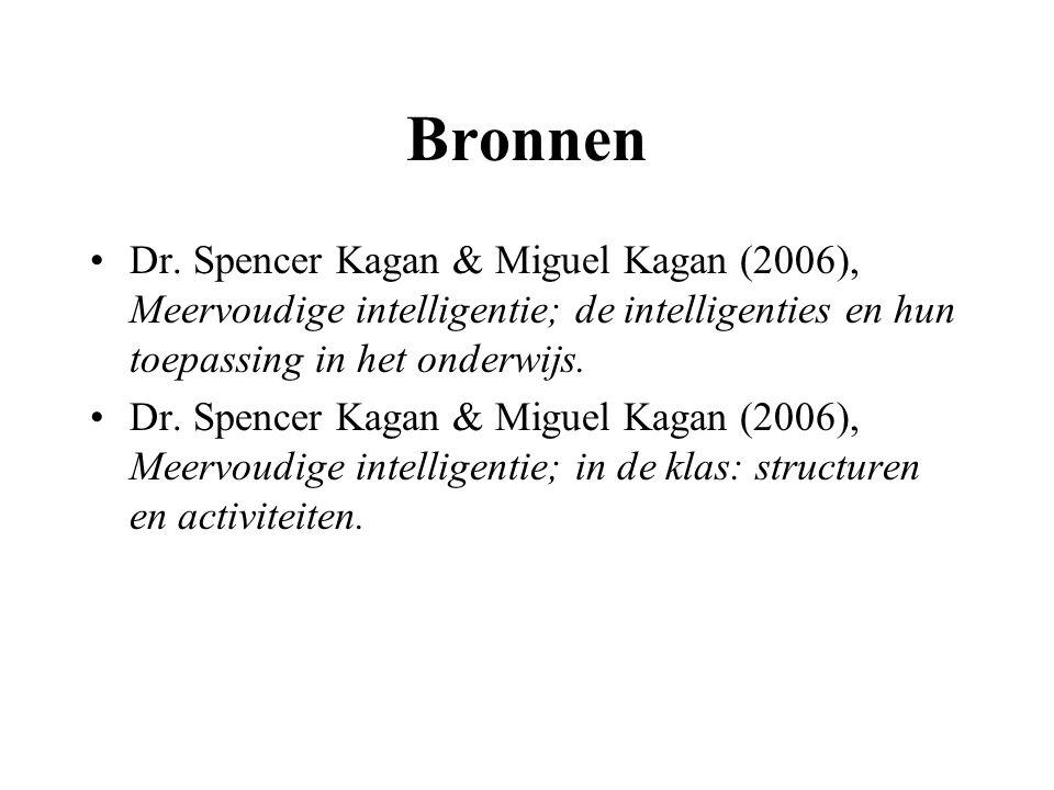 Bronnen Dr. Spencer Kagan & Miguel Kagan (2006), Meervoudige intelligentie; de intelligenties en hun toepassing in het onderwijs. Dr. Spencer Kagan &