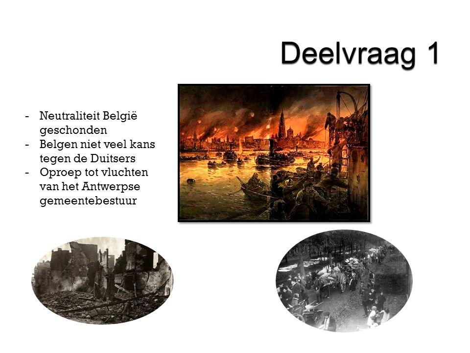 -Neutraliteit België geschonden -Belgen niet veel kans tegen de Duitsers -Oproep tot vluchten van het Antwerpse gemeentebestuur