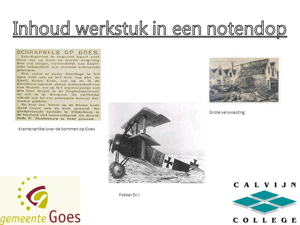 Grote verwoesting Krantenartikel over de bommen op Goes Fokker Dr.l