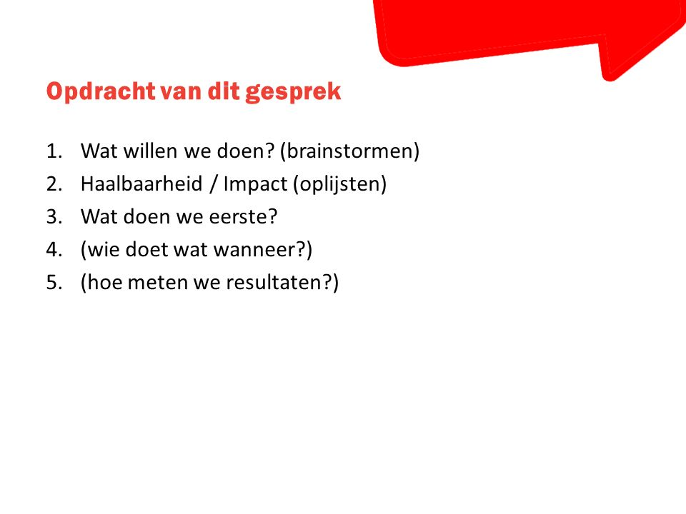 Opdracht van dit gesprek 1.Wat willen we doen? (brainstormen) 2.Haalbaarheid / Impact (oplijsten) 3.Wat doen we eerste? 4.(wie doet wat wanneer?) 5.(h