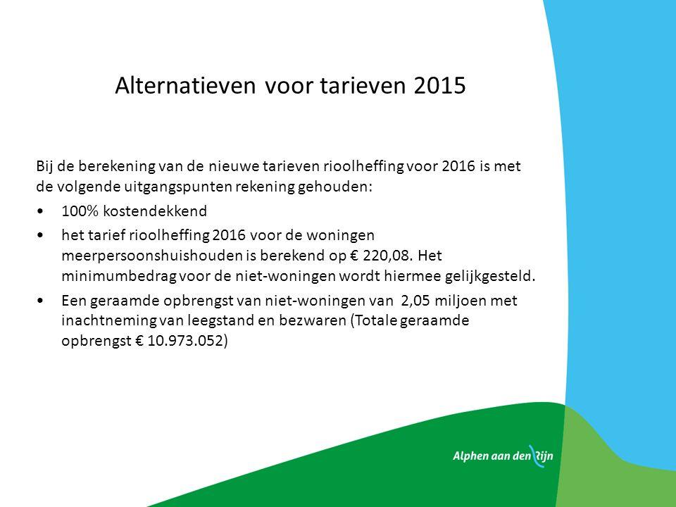 Alternatieven voor tarieven 2015 Bij de berekening van de nieuwe tarieven rioolheffing voor 2016 is met de volgende uitgangspunten rekening gehouden: 100% kostendekkend het tarief rioolheffing 2016 voor de woningen meerpersoonshuishouden is berekend op € 220,08.