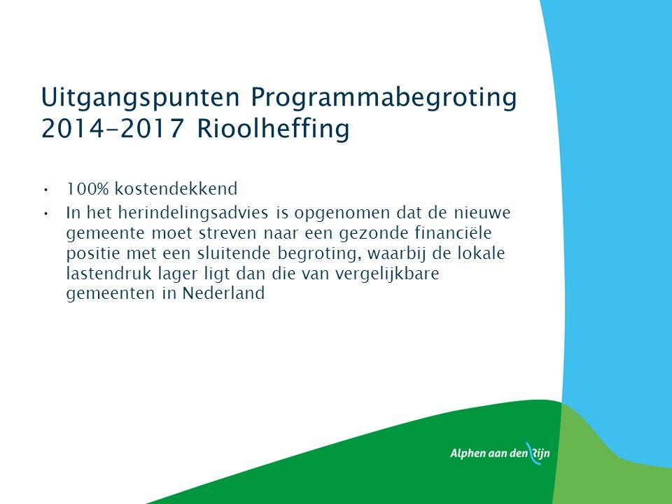 Uitgangspunten Programmabegroting 2014-2017 Rioolheffing 100% kostendekkend In het herindelingsadvies is opgenomen dat de nieuwe gemeente moet streven naar een gezonde financiële positie met een sluitende begroting, waarbij de lokale lastendruk lager ligt dan die van vergelijkbare gemeenten in Nederland
