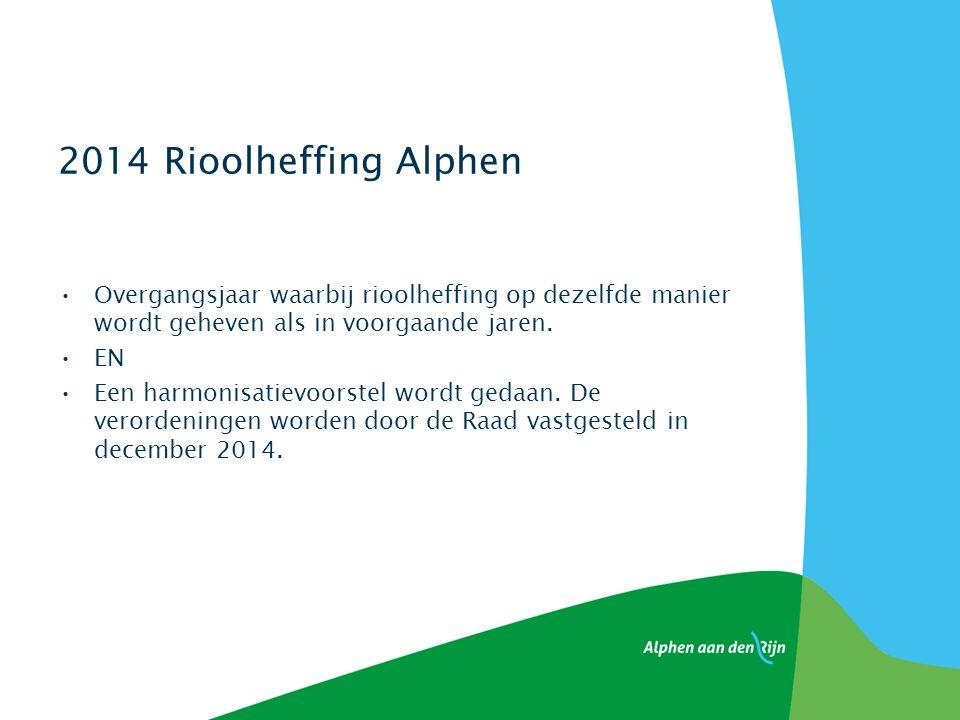 2014 Rioolheffing Alphen Overgangsjaar waarbij rioolheffing op dezelfde manier wordt geheven als in voorgaande jaren.