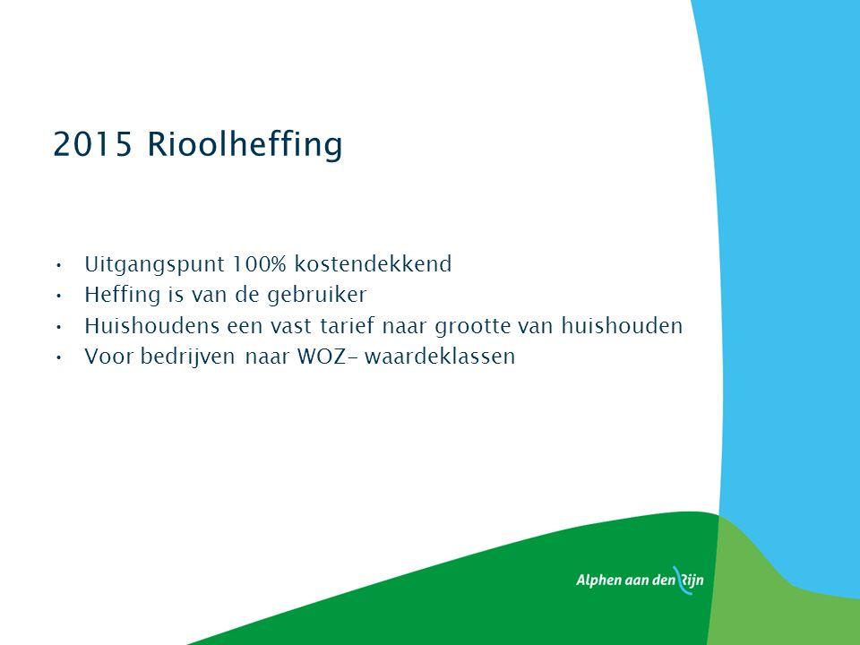 2015 Rioolheffing Uitgangspunt 100% kostendekkend Heffing is van de gebruiker Huishoudens een vast tarief naar grootte van huishouden Voor bedrijven naar WOZ- waardeklassen