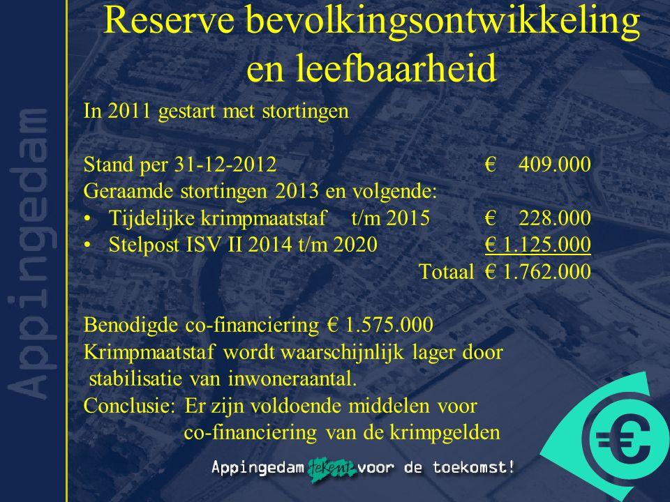 Reserve bevolkingsontwikkeling en leefbaarheid In 2011 gestart met stortingen Stand per 31-12-2012 € 409.000 Geraamde stortingen 2013 en volgende: Tij