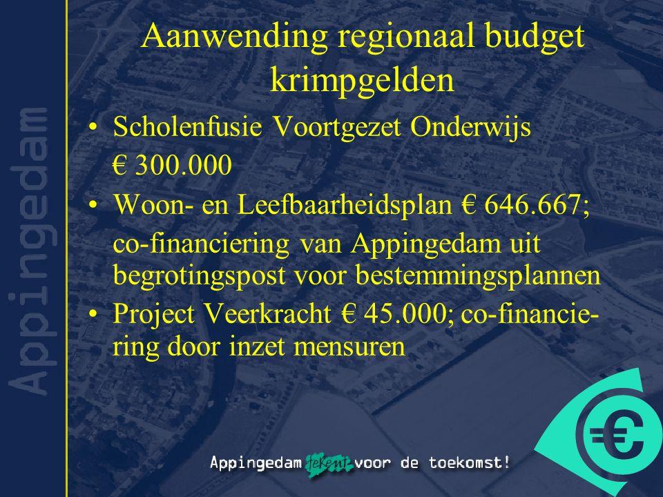 Aanwending regionaal budget krimpgelden Scholenfusie Voortgezet Onderwijs € 300.000 Woon- en Leefbaarheidsplan € 646.667; co-financiering van Appinged