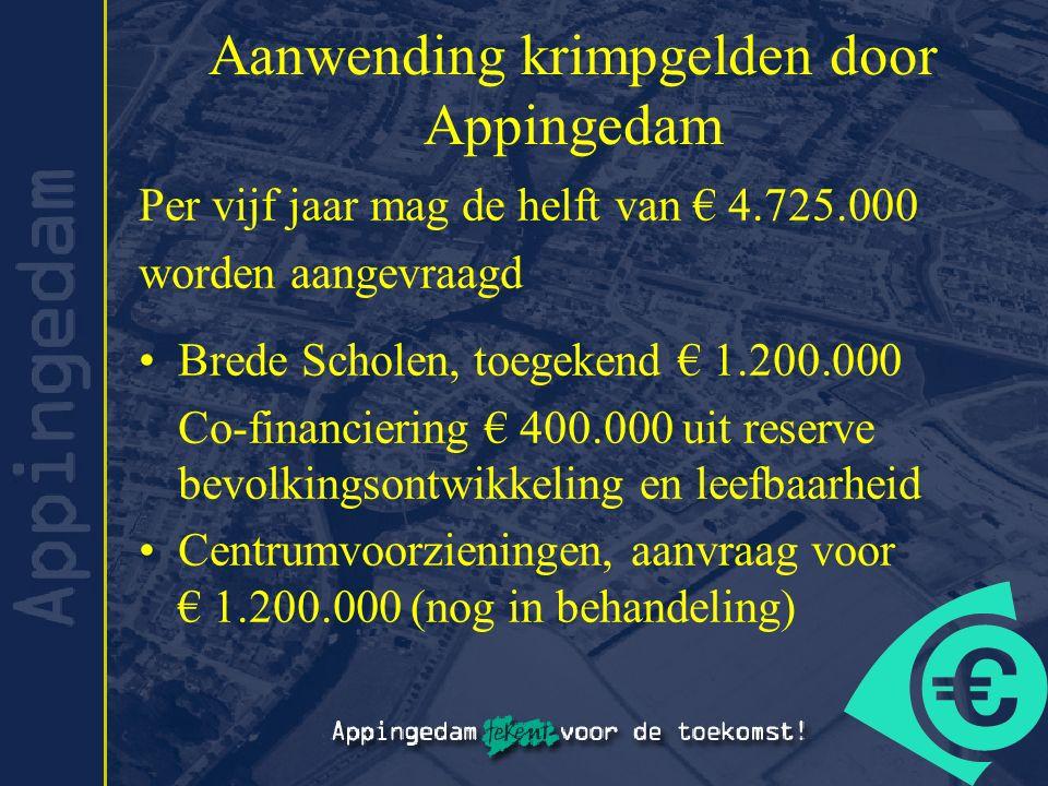 Aanwending krimpgelden door Appingedam Per vijf jaar mag de helft van € 4.725.000 worden aangevraagd Brede Scholen, toegekend € 1.200.000 Co-financiering € 400.000 uit reserve bevolkingsontwikkeling en leefbaarheid Centrumvoorzieningen, aanvraag voor € 1.200.000 (nog in behandeling)