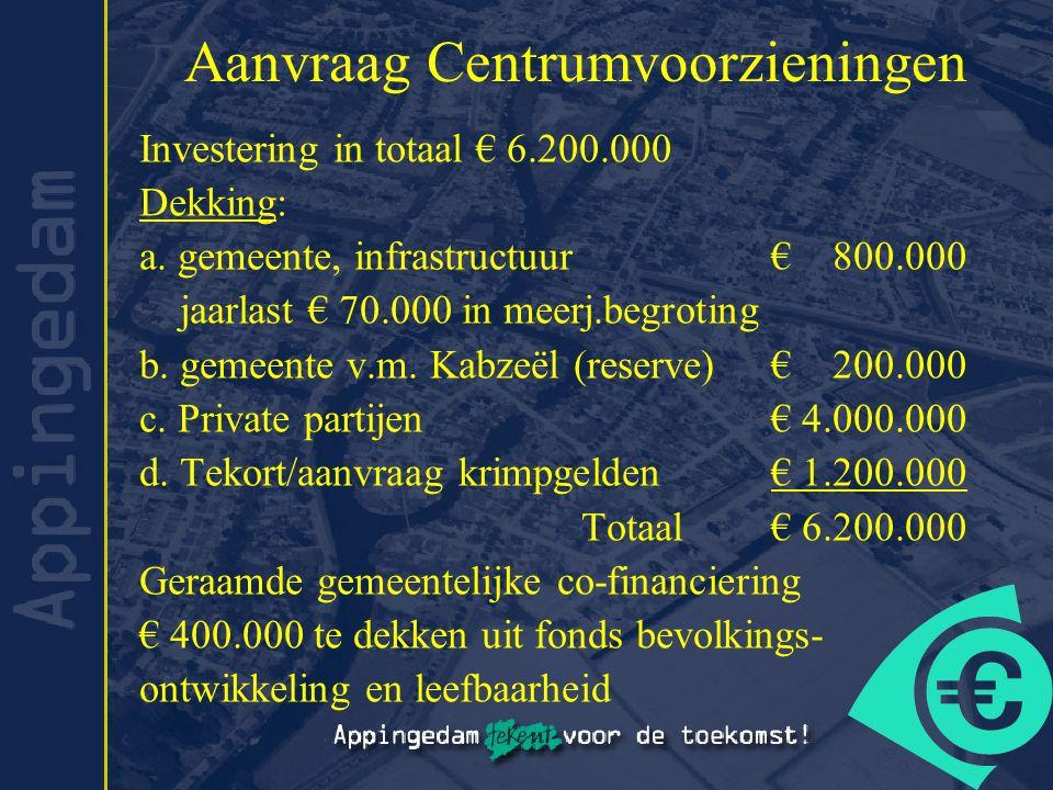 Aanvraag Centrumvoorzieningen Investering in totaal € 6.200.000 Dekking: a. gemeente, infrastructuur€ 800.000 jaarlast € 70.000 in meerj.begroting b.