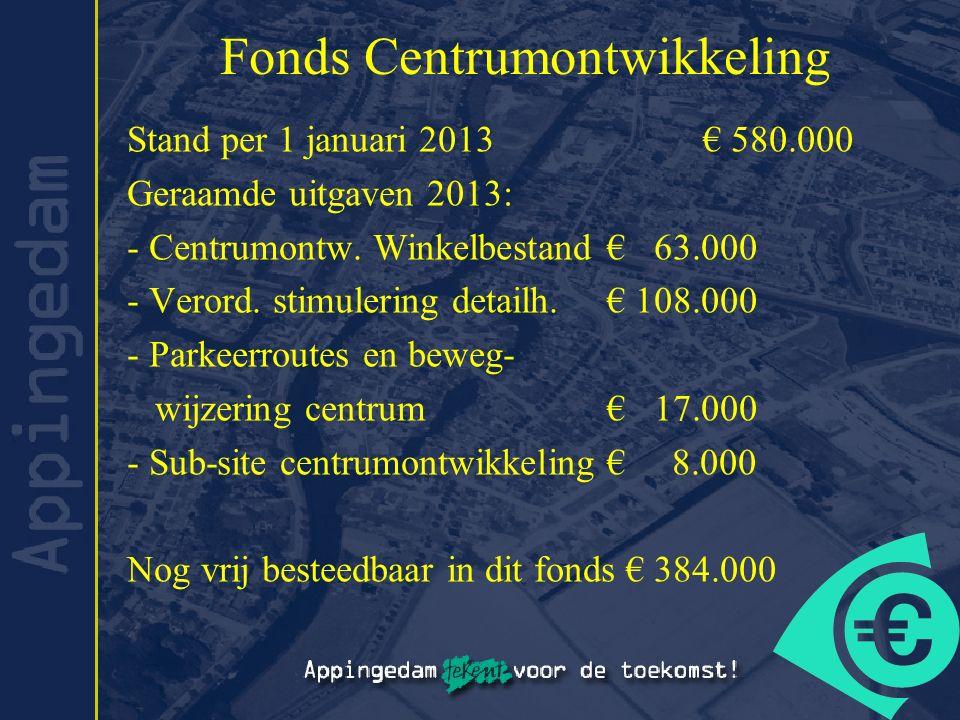 Fonds Centrumontwikkeling Stand per 1 januari 2013€ 580.000 Geraamde uitgaven 2013: - Centrumontw. Winkelbestand€ 63.000 - Verord. stimulering detailh