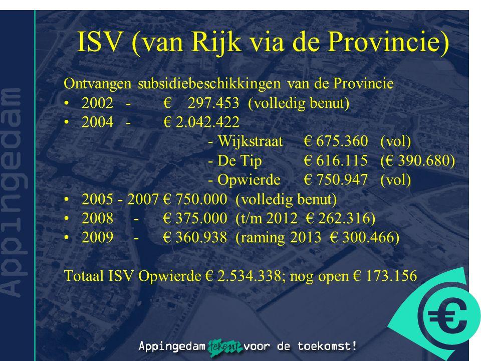 ISV (van Rijk via de Provincie) Ontvangen subsidiebeschikkingen van de Provincie 2002 - € 297.453 (volledig benut) 2004 - € 2.042.422 - Wijkstraat€ 675.360 (vol) - De Tip€ 616.115 (€ 390.680) - Opwierde€ 750.947 (vol) 2005 - 2007 € 750.000 (volledig benut) 2008 - € 375.000 (t/m 2012 € 262.316) 2009 - € 360.938 (raming 2013 € 300.466) Totaal ISV Opwierde € 2.534.338; nog open € 173.156