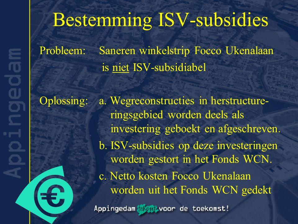 Bestemming ISV-subsidies Probleem: Saneren winkelstrip Focco Ukenalaan is niet ISV-subsidiabel Oplossing:a. Wegreconstructies in herstructure- ringsge