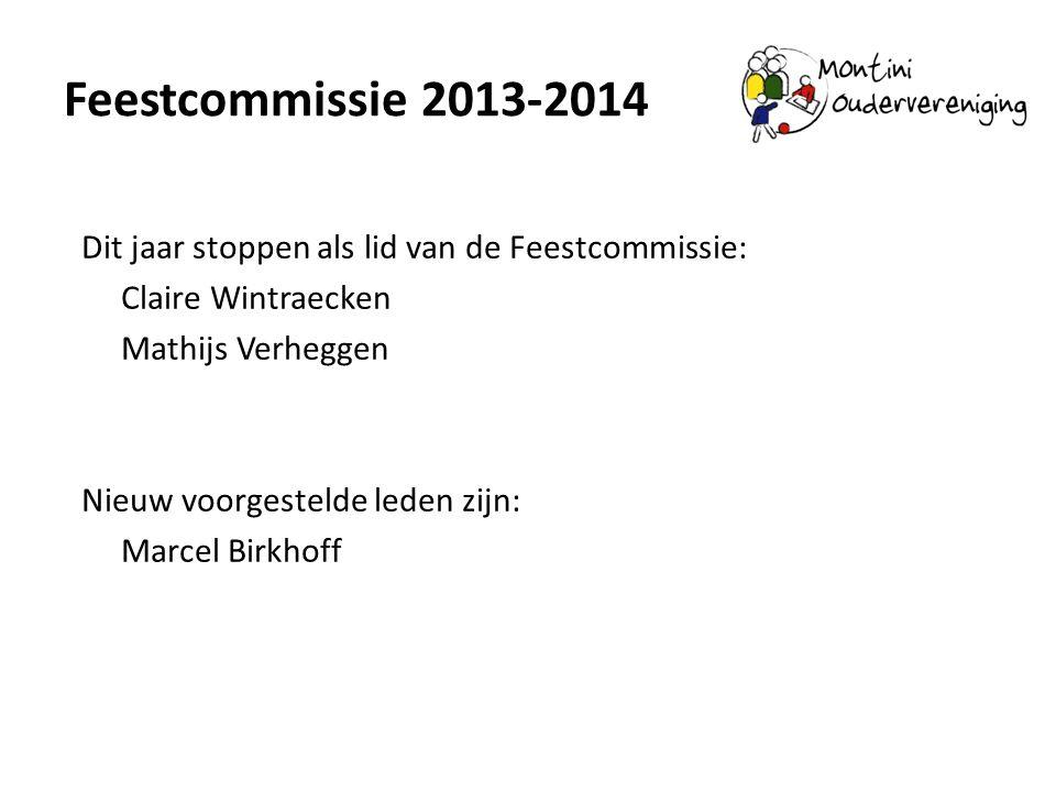 Feestcommissie 2013-2014 Dit jaar stoppen als lid van de Feestcommissie: Claire Wintraecken Mathijs Verheggen Nieuw voorgestelde leden zijn: Marcel Bi
