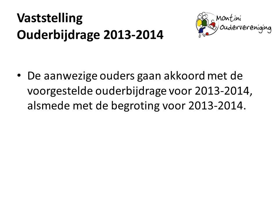 Vaststelling Ouderbijdrage 2013-2014 De aanwezige ouders gaan akkoord met de voorgestelde ouderbijdrage voor 2013-2014, alsmede met de begroting voor 2013-2014.