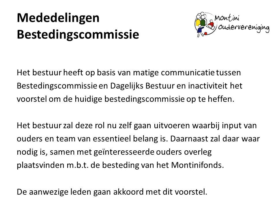Mededelingen Bestedingscommissie Het bestuur heeft op basis van matige communicatie tussen Bestedingscommissie en Dagelijks Bestuur en inactiviteit het voorstel om de huidige bestedingscommissie op te heffen.