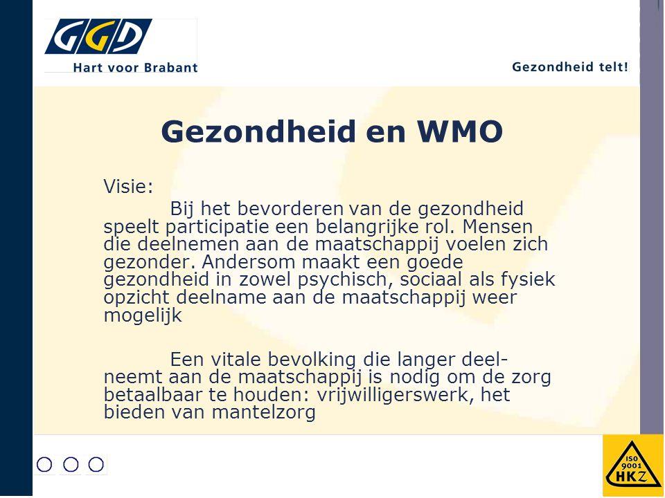 Gezondheid en WMO Visie: Bij het bevorderen van de gezondheid speelt participatie een belangrijke rol. Mensen die deelnemen aan de maatschappij voelen