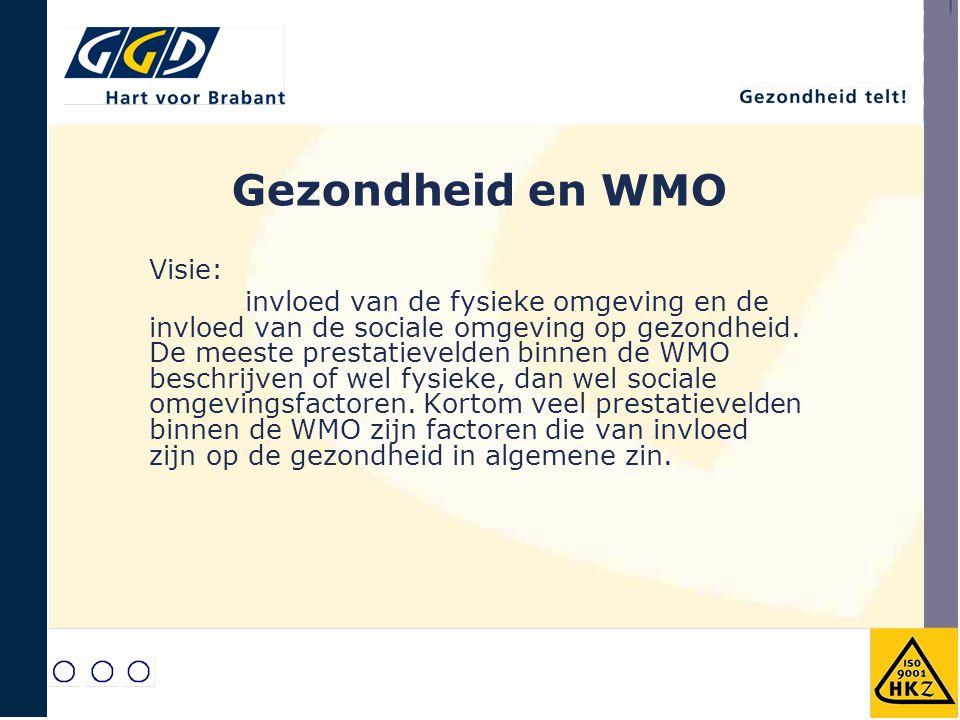 Gezondheid en WMO Visie: invloed van de fysieke omgeving en de invloed van de sociale omgeving op gezondheid. De meeste prestatievelden binnen de WMO