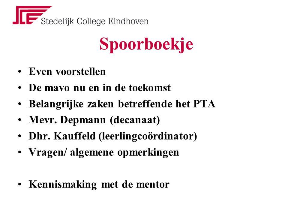 Spoorboekje Even voorstellen De mavo nu en in de toekomst Belangrijke zaken betreffende het PTA Mevr.
