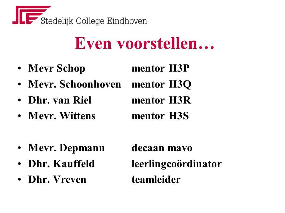 Lokalen mentoren H3PMevr.Schoplokaal 80 H3QMevr. Schoonhoven lokaal 82 H3RDhr.