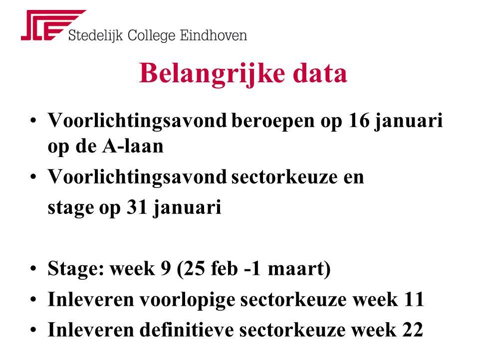 Belangrijke data Voorlichtingsavond beroepen op 16 januari op de A-laan Voorlichtingsavond sectorkeuze en stage op 31 januari Stage: week 9 (25 feb -1 maart) Inleveren voorlopige sectorkeuze week 11 Inleveren definitieve sectorkeuze week 22