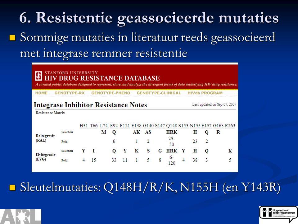 6. Resistentie geassocieerde mutaties Sommige mutaties in literatuur reeds geassocieerd met integrase remmer resistentie Sommige mutaties in literatuu